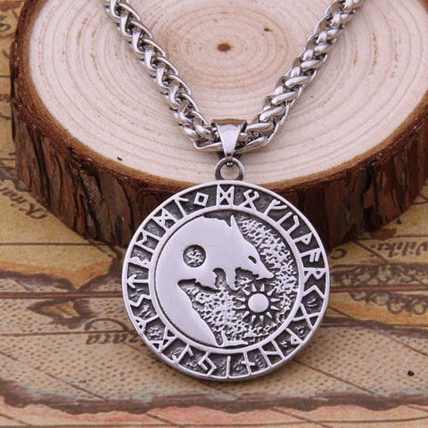 Viking Wolf Rune Pendant Necklace