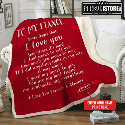 Personalized Blanket: To My Fiancé with Your Name - Perfect gift for Fiancé