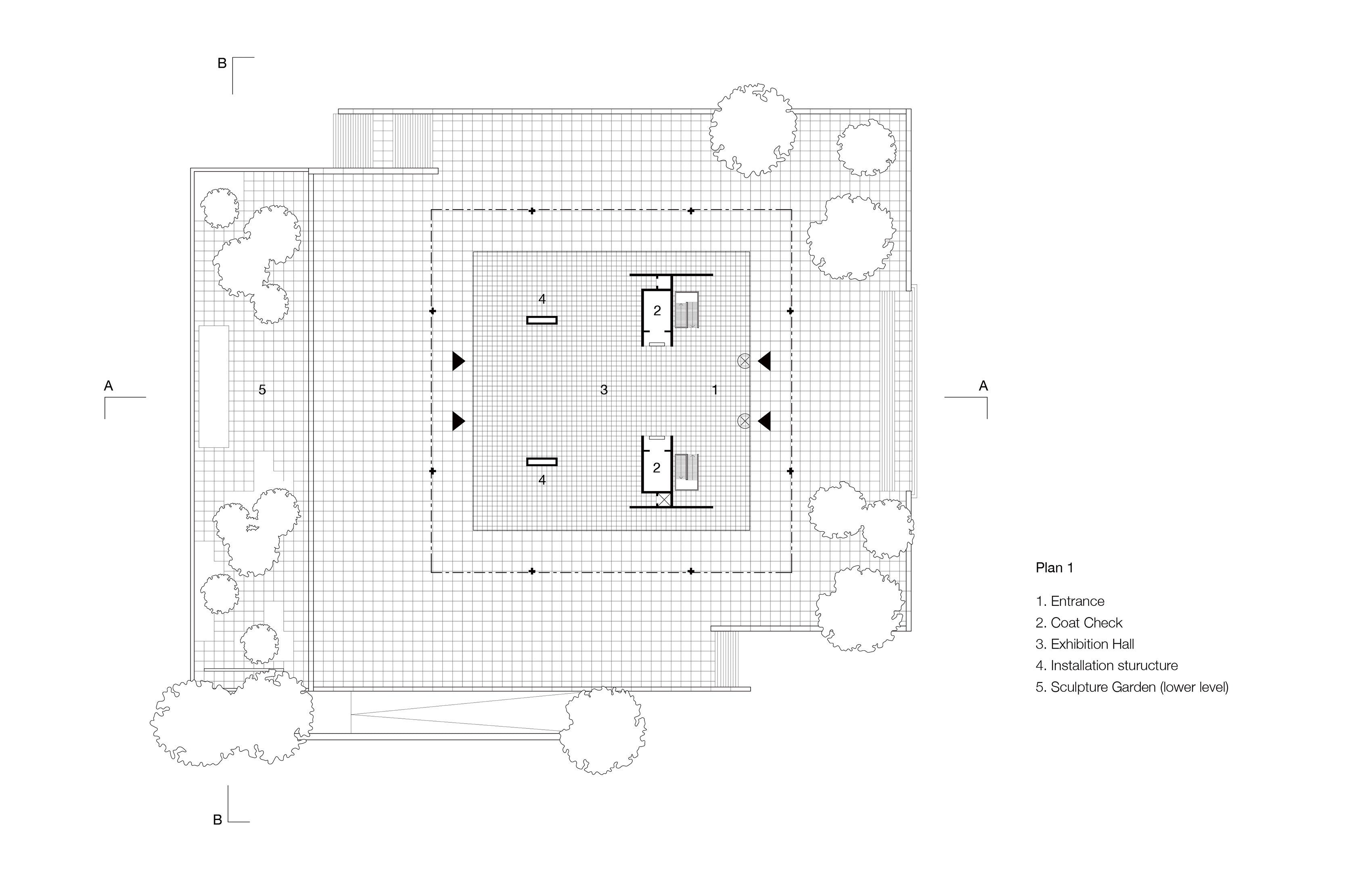 Plan of the Neue National galerie by Ludwig Mies van der Rohe