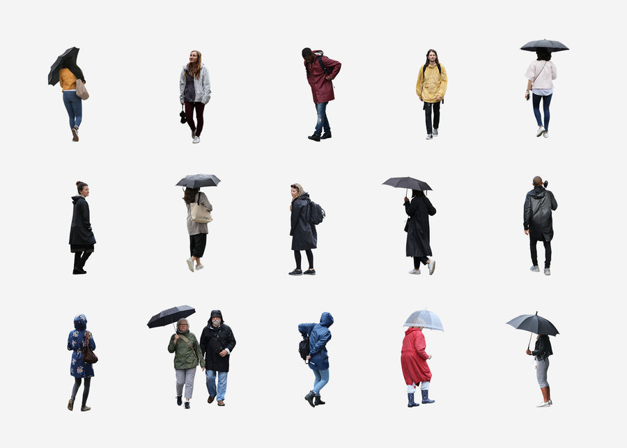 Cutout People Package - Rainy day