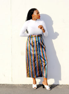 Silk Stripped Skirt (Vintage)
