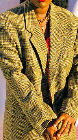 Vintage Men's Inspired Blazer- Off Brown