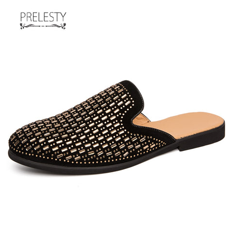 Prelesty Fashion New Party Vintage Backless Formal Slip On Men Driving Shoes Handsome Cool