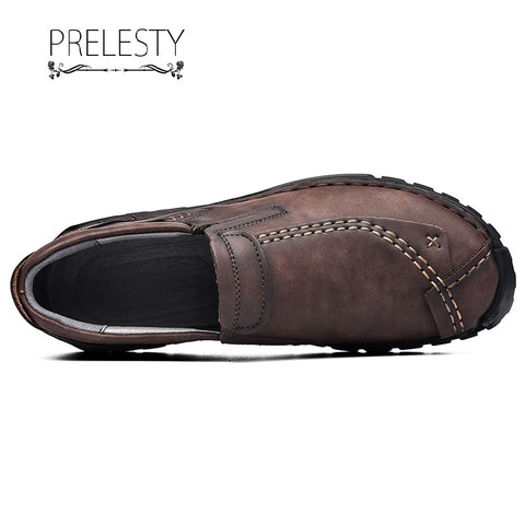Prelesty Fashion English Men Formal Dress Slip On Shoes Genuine Leather Business Breathable