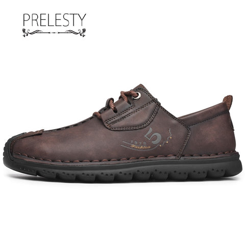 Prelesty Fashion English Style Men Formal Dress Shoes Genuine Leather Business Breathable
