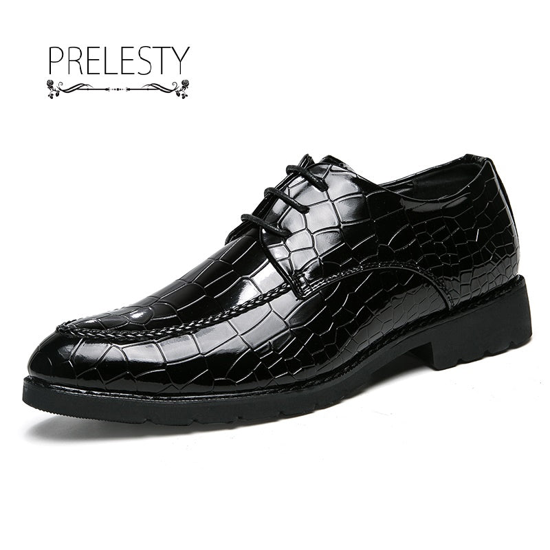 Men Dress Shoes Pointed Toe Business For Men Crocodile Leather Male Moccasins