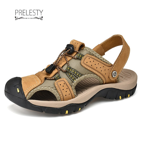 Prelesty Men Sandal Strap Design Leather New Cool Breathable Outdoor
