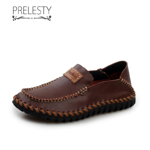 Prelesty Fashion Men Formal Shoes Business Slip On Genuine Leather Comfortable Handsome Breathable Hand made