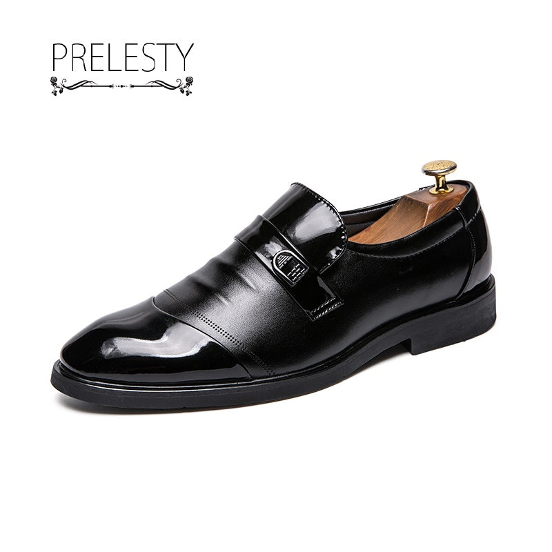 Prelesty Handsome Leather Men Formal Shoes Monk Strap Dress Wedding Business