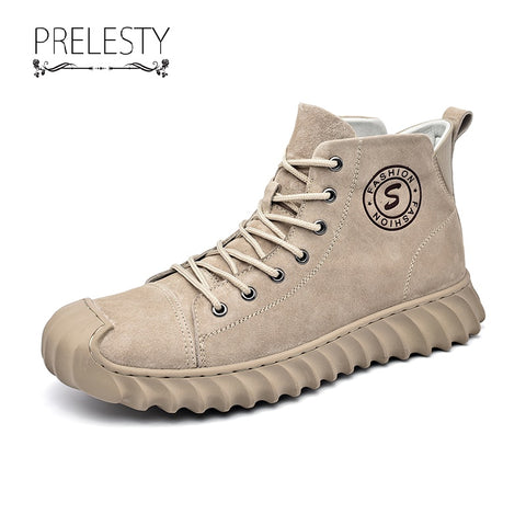 Prelesty Classic Winter Fashion Men's Boots Shoes Genuine Leather Rubber Bottom Cap Toe Design