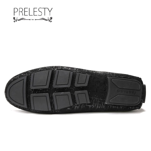 Prelesty Summer Lightweight Soft Cow Leather Men Driving Shoes Casual Loafer Breathable Metal Decor