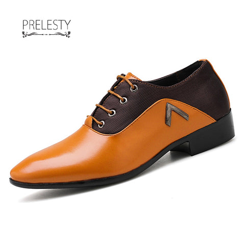 Prelesty Big Size 38~48 Office Men Dress Shoes Pointed Toe Leather Business Wedding Formal Shoes