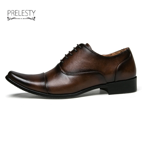 Luxury Urban Vintage Men Business Shoes Leather Pointed Toe Dress Oxfords