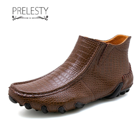 Prelesty Fashion New Men Boots High Tops Shoes Formal Breathable Crocodile Cow Leather Breathable