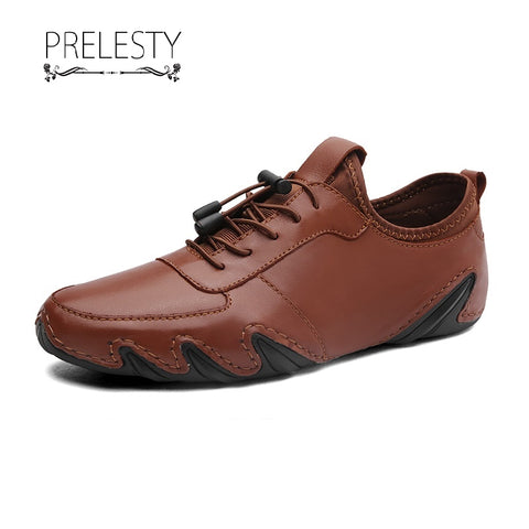 Prelesty Fashion Men Formal Office Driving Loafer Tuxedo Shoes Smart Party Busines Genuine Leather
