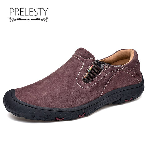 Prelesty Big Size 38~48 Summer Men Hiking Shoes Climbing Outdoor Cow Leather High Quality