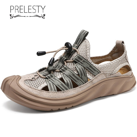 Prelesty Summer Fashion Casual Men Sandal Shoes Cap Toe Protect Lightweight Breathable Waterproof Hiking Good
