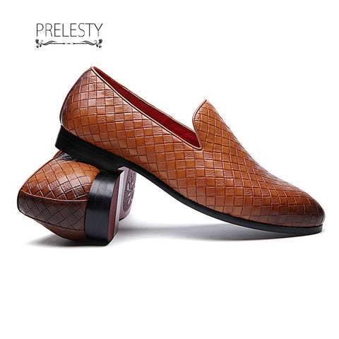 Prelesty Men Dress Shoes Pointed Toe Business Office Style Plaid Wedding Plaid Pattern