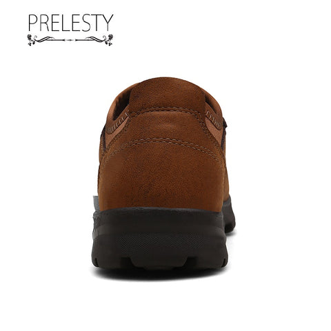 Prelesty Large Size Good Quality Men Hiking Shoes Non-Slip Climbing Outdoor Mountain Bottom No Laces