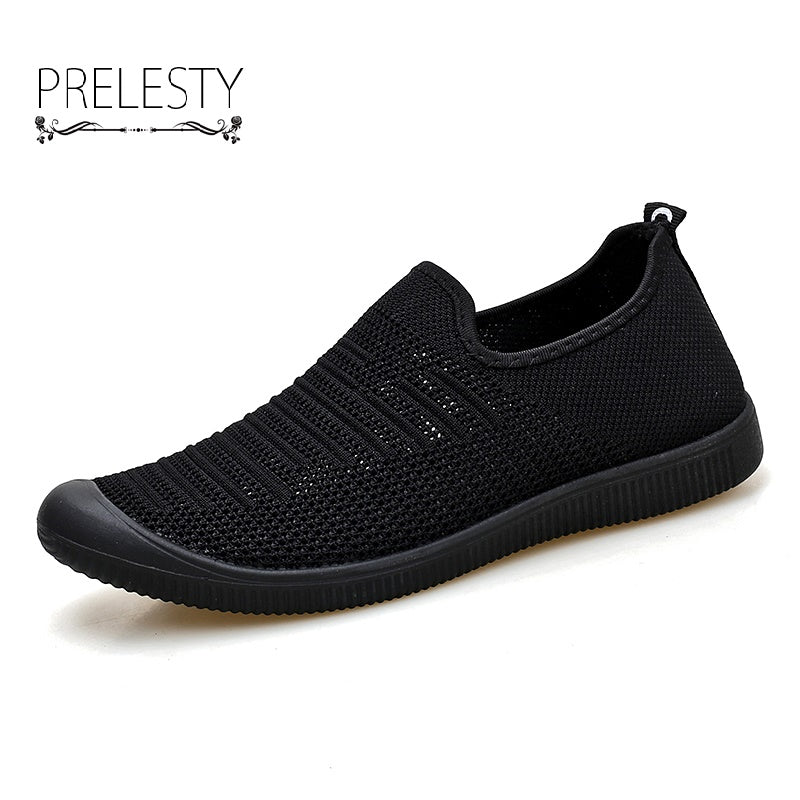 Summer Men Handmade Flat Shoes High Quality Man Loafers Solid Fly Knitted Slip On Breathable