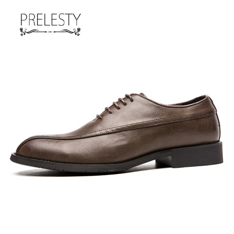 Prelesty Big Size Party Handsome Men Dress Shoes Formal Brogues Handmade Comfortable Comfortable