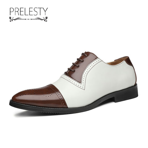 Prelesty Italian Design Men Formal Office Brogues Shoes Mixed Color Comfortable Wedding Party