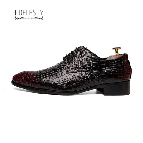 Prelesty Handsome Classic Design Cool Men's Formal Business Wedding Crocodile Shoes