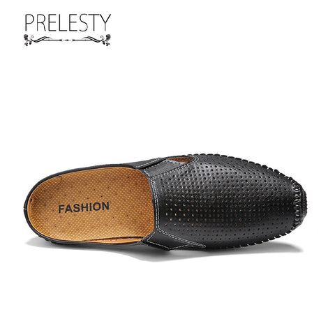 Prelesty Handmade Casual Loafer Genuine Cow Leather Men Driving Shoes Without Back Lightweight High Quality