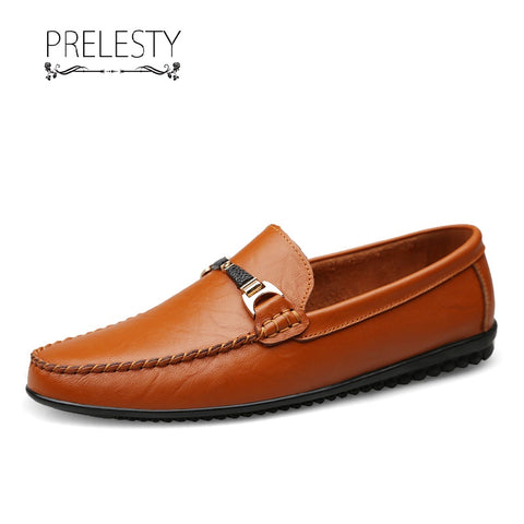 Prelesty Men Dress Shoes Formal Handmade Comfortable Genuine Cow Leather Horsebit