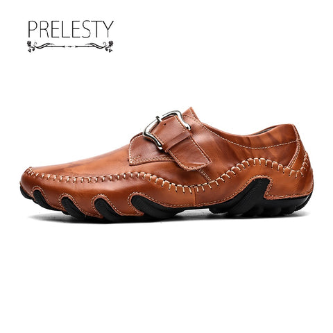 Prelesty Handmade High Quality Cow Leather Men Driving Shoes Casual Breathable Loafer Buckles Design