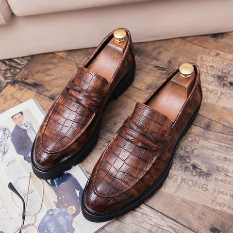 Prelesty Swag Crocodile Slip On Leather Casual Shoes For Men Dress Loafer Comfortable