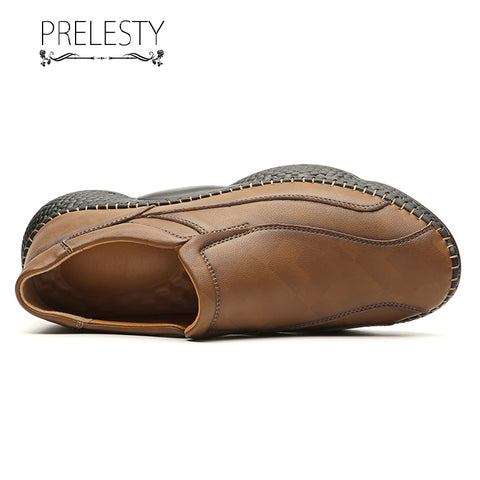 Prelesty Big Size 38-48 Comfortable Men Driving Slip On Shoes Fashion Casual Moccasin Handsome Genuine Leather