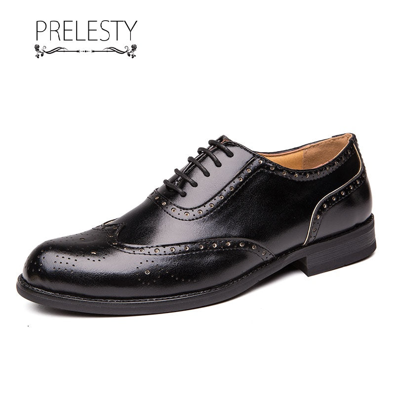 Prelesty Large Size Men Dress Shoes Formal Brogues Handmade Comfortable Carved Comfortable Wedding