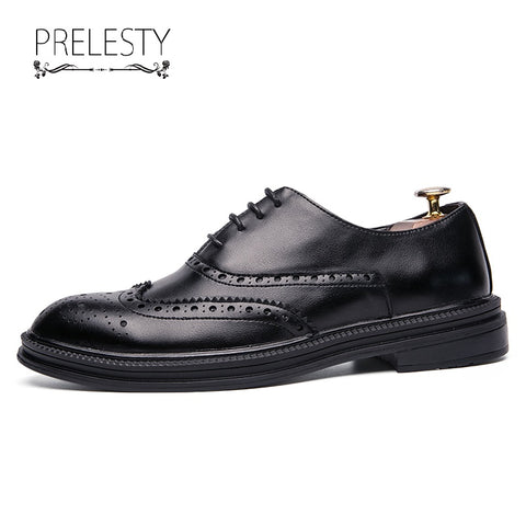 Prelesty Gentleman Style Men Dress Carved Oxfords Shoes Formal Office Meeting Wedding