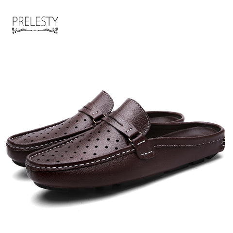 New Vintage Men Driving Shoes Summer Backless Loafers Open Backs