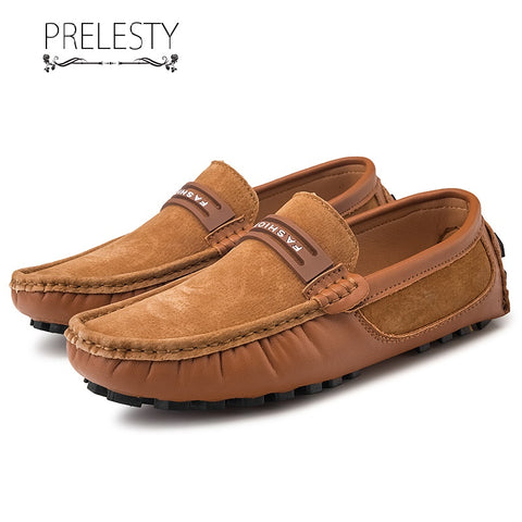 Prelesty Summer Handmade Light Suede Leather Casual Men Loafer Shoes Breathable Classic Driving Wear