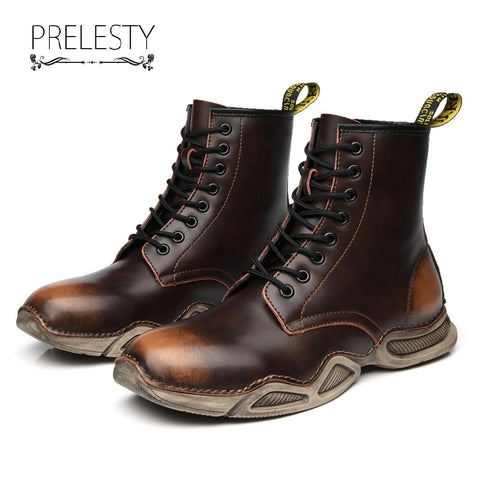 Prelesty Genuine Cow Leather New Men's Long Boots Shoes Breathable Durable Soft Rubber Bottom