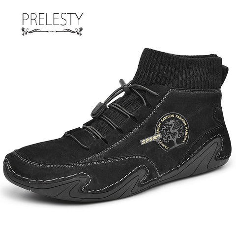 Prelesty Winter Leather Men's Boots Shoes High Tops Rubber Bottom Handsome Breathable Durable