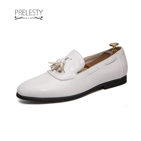 Prelesty Shining Leather Men Formal Boat Shoes Tassel Loafer Gentleman Fashion Business