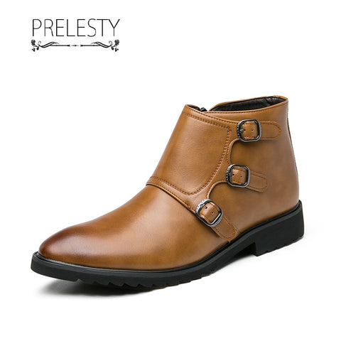 Prelesty English Style Cool Men's Boots Shoes High Tops Buckles Design Handsome Classic Zipper