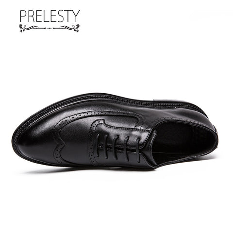 Prelesty Elegant New Italian Style Formal Good Soft Men Dress Shoes Lace Up Brogues Handsome Business Black