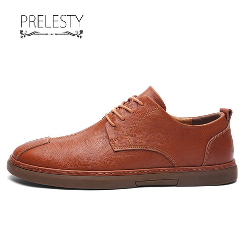 Prelesty Fashion Cool Men Formal Shoes Lace Up Design Party Business Leather Dress Flat Rubber Bottom