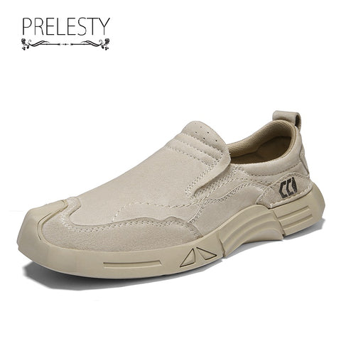 Prelesty Cool Fashion Men Formal Slip On Shoes Business Genuine Leather Rubber Thick Bottom