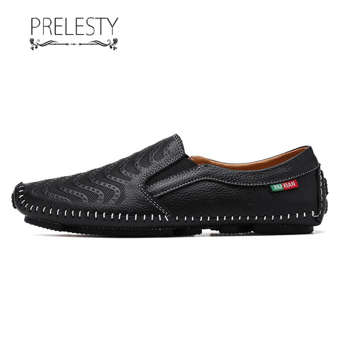 Prelesty New Cow Leather Summer Lightweight Men Driving Shoes Casual Loafer Breathable Comfortable