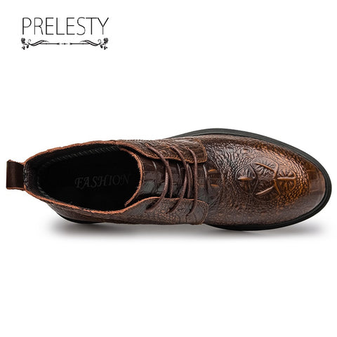 Prelesty Fashion Men's Boots Shoes Genuine Leather Crocodile Design Breathable High Quality