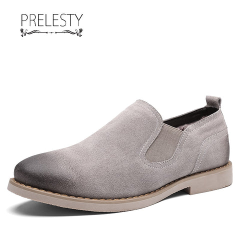 Prelesty Fashion Business Men Chelsea Boots Genuine Leather Business Western Style Low Cut