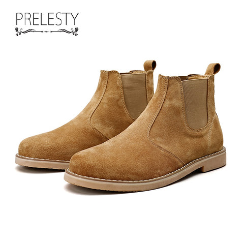 Prelesty Classic Fashion Men's Chelsea Boots Shoes Good Suede Cow Leather Durable Handsome