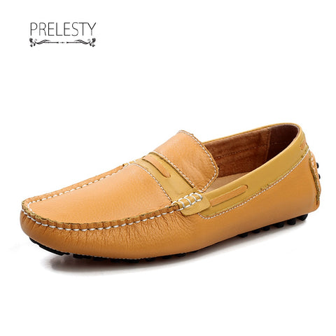 Prelesty Leather Shoes Men Genuine Cow Leather Loafers Slip On Driving Boat Shoes