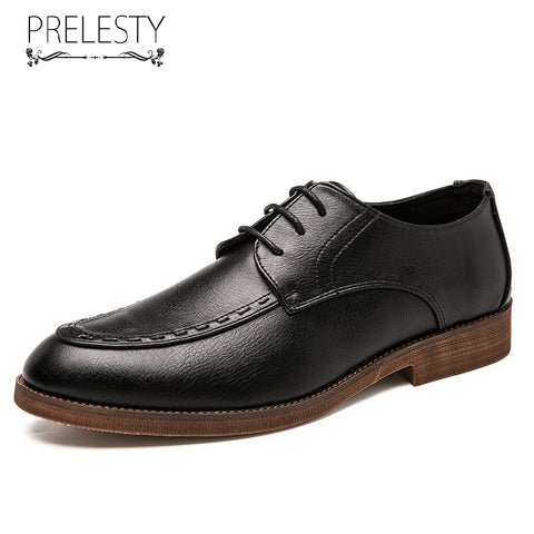 Prelesty Big Size Luxury Fashion Classic Men Formal Office Brogues Shoes Business Wedding