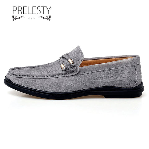 Prelesty Classic New Men Driving Loafer Shoes Soft Smart Party Cool Business Crocodile Skin Comfortable